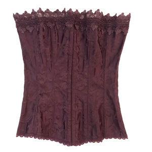 Purple Brocade Fredricks Lace-Up Corset 34